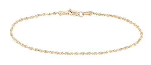 10 InchThin Solid Diamond Cut Rope Chain Bracelet and Anklet - 10k Yellow Gold - 2mm (0.08'') by SL Gold Imports