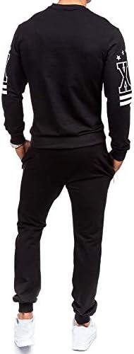 IUN Tuta Sportiva da Uomo Felpa con Stampa Autunno Inverno Imposta Tuta da Ginnastica Uomo Completa Giacca e Pantalone Training Sportiva