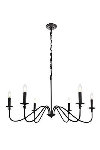 6-Light Chandelier in Matte Black