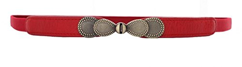 (Red Women Metal Vintage Skinny Leather Belt Elastic Bow Waist Belt Solid Color, Red, Small(26.57