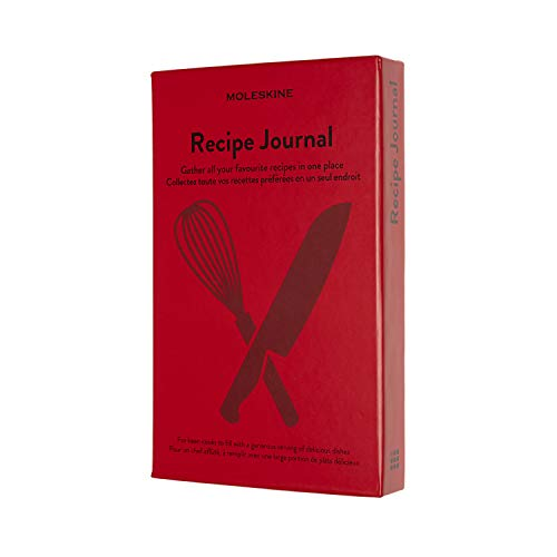 """Moleskine Passion Journal, Recipe, Hard Cover, Large (5"""" x 8.25"""") Scarlet Red, 400 Pages"""