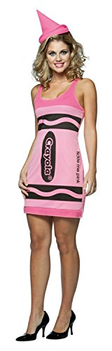 Crayola Costume Pink (Rasta Imposta Crayola Tank Dress Costume, Tickle Me Pink, Adult 4-10)
