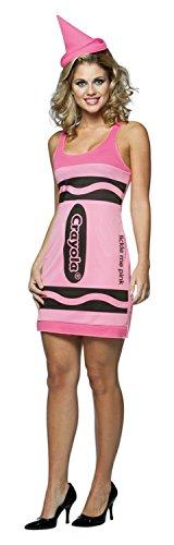 Pink Costume Crayola (Rasta Imposta Crayola Tank Dress Costume, Tickle Me Pink, Adult)