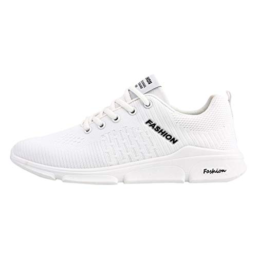 Price comparison product image DondPO Men's Fashion Sneakers Sport Baseball Shoes Knitted Outdoor Lightweight Gym Athletic Shoe for Men Trail Workout White