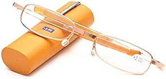 Golden Short Folding Reading Glasses Pencil Case Portable Metal Frame Eyeglasses Women Men Pen Holder Hyperopia Old Light Glasses
