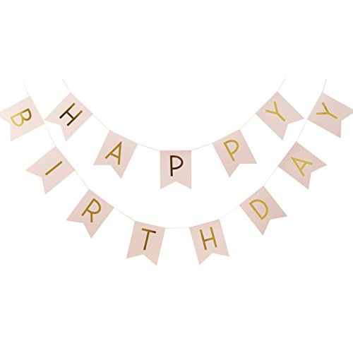 Price comparison product image Ginger Ray Pastel Perfection and Gold Foiled Happy Birthday Bunting Banner,  Pink