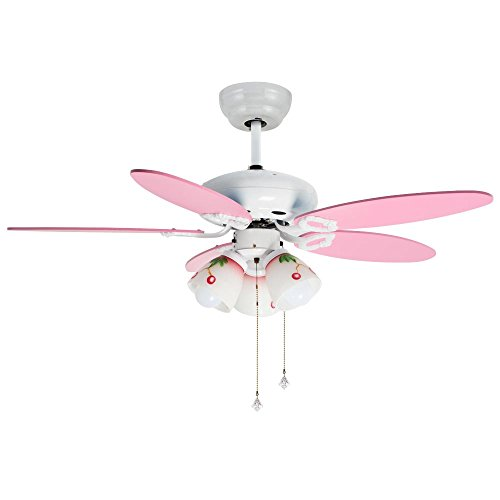 Andersonlight 42 Inch Mute Ceiling Fan Downrod for Indoor/Bedroom/Living Room 5 Blades 3 Lights Pull Rope Control Cartoon for Child White Finish Pink Wooden Blades