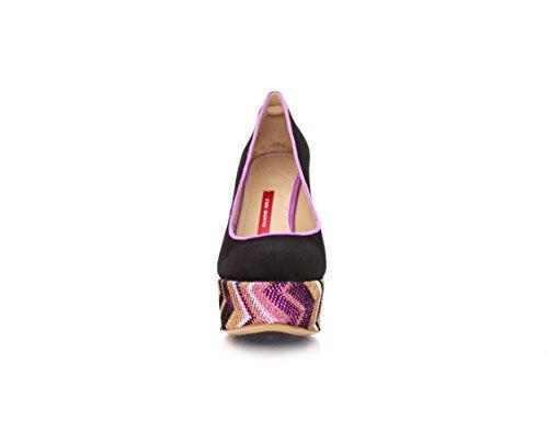Pumps Plateau Wildleder Diamond 12cm MIT Schwarz Black Women's Pump Absatz Jacquard Heels Gemustertem EtwIU