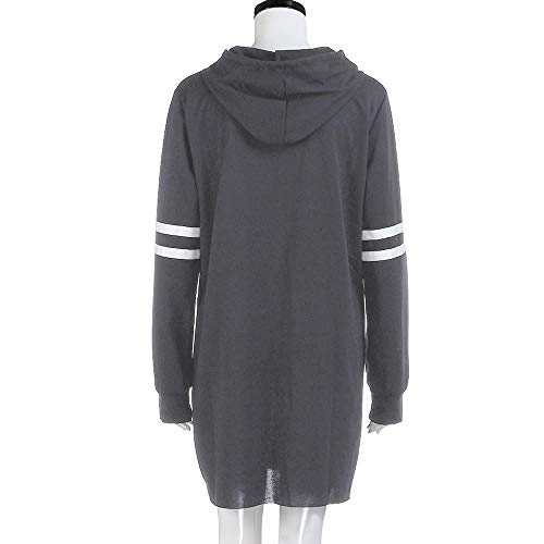 Lelili Dress Striped Mini Clearance Fashion Hooded 2018 Drawstring Hoodie Above Gray Women Dress Adjustable KneeShirt Long Sleeve RrX0xR
