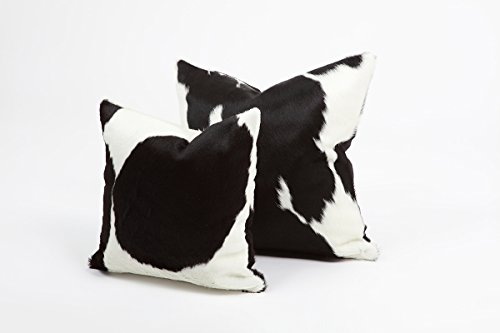 Black & White Cowhide - Black & White Genuine Cowhide Pillow Cover - 16x16 Inches or 20x20 Inches (20x20)