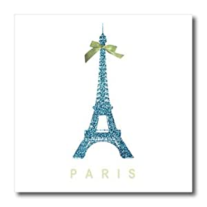 ht_112909_2 InspirationzStore French theme - Blue Eiffel Tower with green girly ribbon bow - Pretty Stylish France Souvenir - glam travel fashion - Iron on Heat Transfers - 6x6 Iron on Heat Transfer for White Material