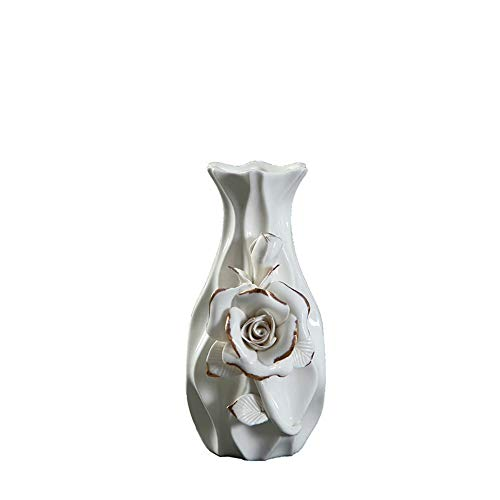 (NEWQZ.COM Modern Geometric Pattern Stoneware Vase with 3D Carving Flower, Ceramic Vase for Home Decor, 5.9
