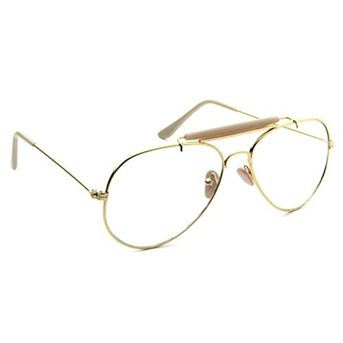 retro aviator clear lens glasses super vintage classic fashion nickel gold metal frame eyeglasses - Wire Frame Glasses