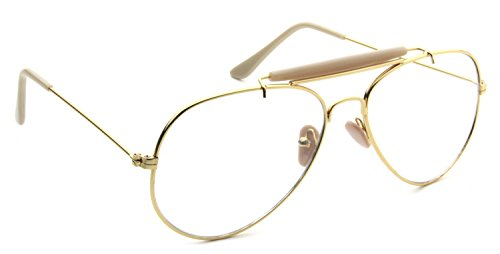 Retro Aviator Clear Lens Glasses Super Vintage Classic Fashion Nickel Gold Metal Frame - Frames Aviator Eyeglasses