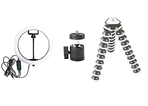 YASHVI TOYS 10 Inches Big LED Ring Light with 10 Inch Gorilla Tripod 3 Type Brightness Mode for Perfect Shoot can be Used for Camera, Phone YouTube Video Shooting and Makeup.