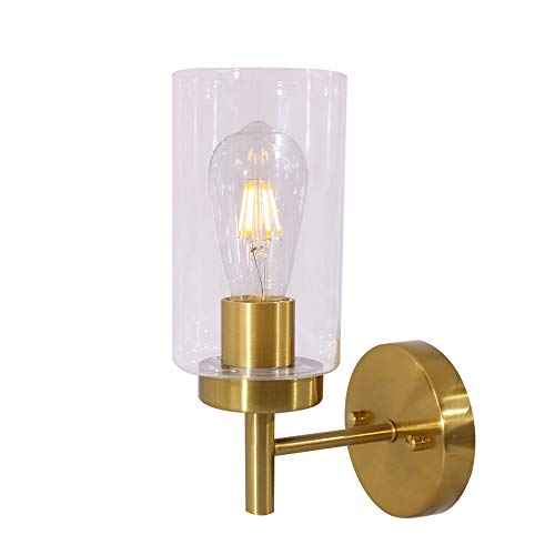 VINLUZ One Light Bathroom Wall Light Fixtures Brushed Brass with Frosted Glass, Porch Singel Wall Lighting