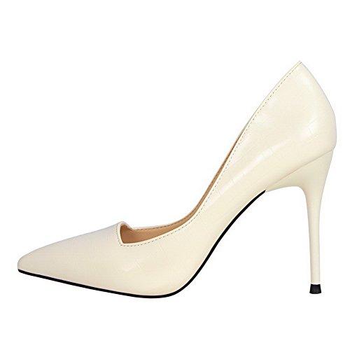 AalarDom Damen Stiletto Rein Ziehen Auf Weiches Material Pumps Schuhe Weiß