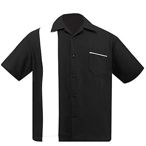 - Steady Clothing Black & White Bowling Lounge Shirt Rockabilly Back to 50's 1950s (XL)