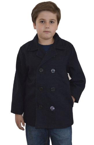JL18 Kids Navy Blue Wool Peacoat Jacket (4, Navy Blue)