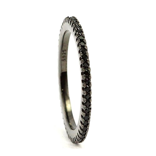 Bands Black Eternity Gold - 1.5mm Stackable Full Eternity Wedding Engagement Ring Black CZ Black Gold Plated 925 Sterling Silver
