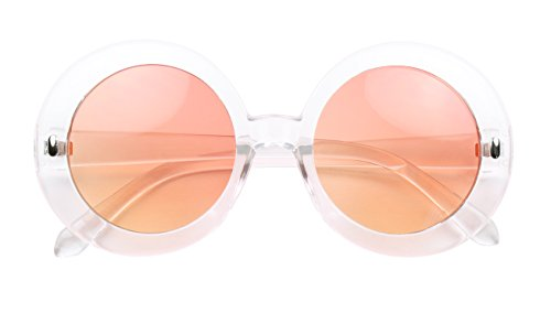 ShadyVEU - Retro Chunky Frame Tinted Colored Lens Oversize Round Mod Sunglasses (Clear Frame / Sunset Orange Lens, - Glasses Sun Channel