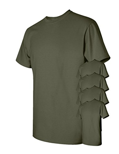 Gildan Men's Classic Heavy Cotton T-Shirt, Military Green, L (Pack of 5)