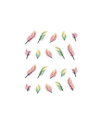 (1Pcs/Sell) Feather DIY Designer Transfer Nails Art Sticker Colorful Fantacy Flowers Nail Stickers Wraps Foil Sticker manicure,Pink -