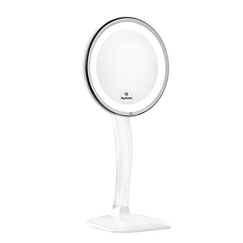 KEDSUM Upgraded 10X Magnifying Lighted Makeup Mirror, Desktop Vanity Mirror with Height 12.6-15.75