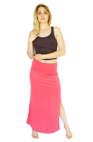 Active Basic Banded Jersey Maxi Skirt (Small, Coral)