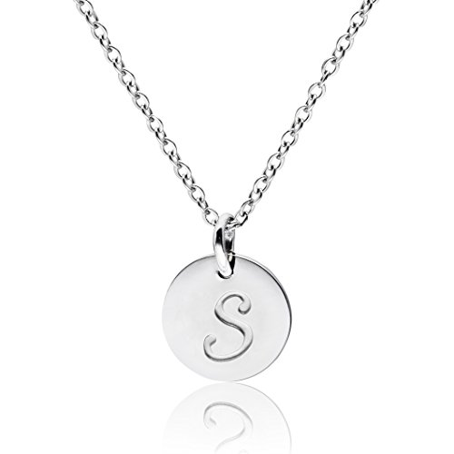 (THREE KEYS JEWELRY Silver Tone Initial Necklace 0.63