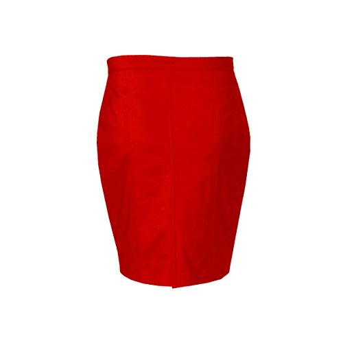 (Olly And Ally Sexy Ladies Women Genuine Soft Sheep Nappa Red Leather Pencil Skirt)