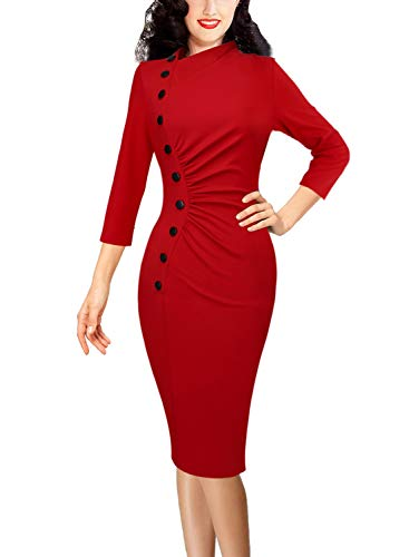 VFSHOW Womens Vintage Retro Ruched Buttons Work Business Party Pencil Dress 1361 RED ()