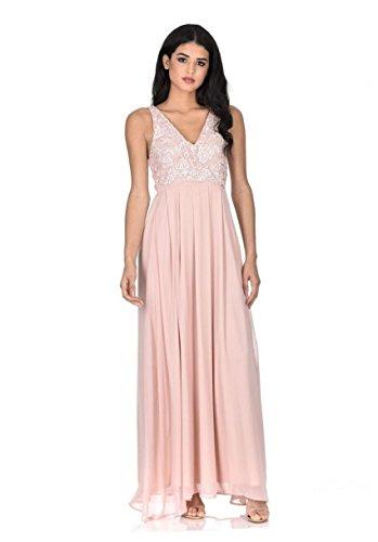 (AX Paris Women's Nude Maxi Dress(Beige, Size:10))