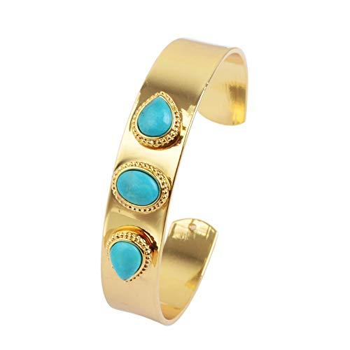 ZENGORI 1 Piece Gold Plated Three Oval Teardrop Shape Natural Turquoise Bezel Setting Bangle - Stud Turquoise Bracelet