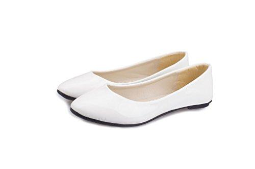 LEIT Frauen Dünne Schuhe Flache Spitze Freizeit, Arbeit Schuhe Aus Lackleder White