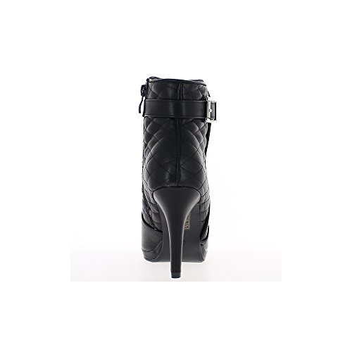 Nero stivali a tacco fine asta imbottita di 9,5 cm