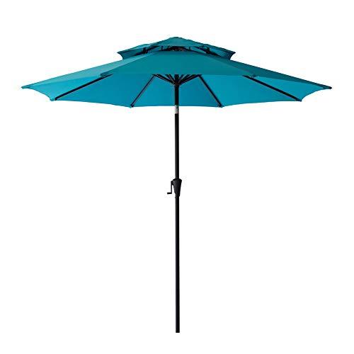 C-Hopetree 9′ Round Double Top Outdoor Patio Umbrella Crank Lift Push Button Tilt Aqua Blue