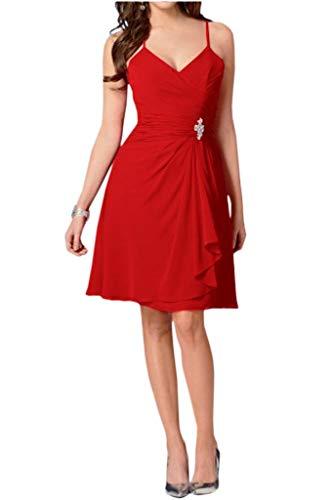 Braut Damen Traeger Abendkleider Partykleider Chiffon Rot La Mini mia Formale Einfach Spaghetti Sommer Cocktailkleider qf8ZWnB1An