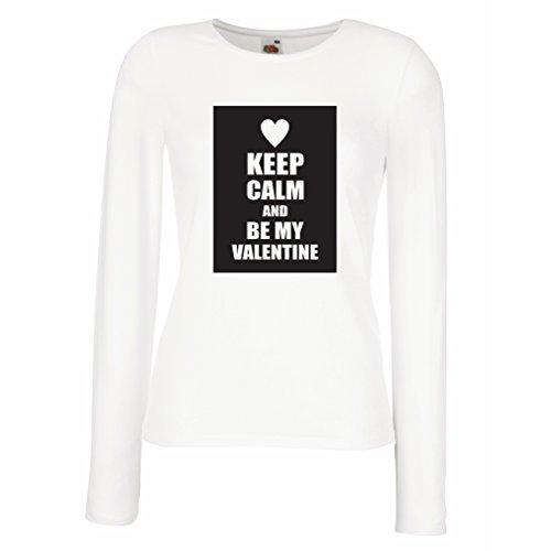 Camisetas de Manga Larga para Mujer'Keep Calm and be my Valentine - Regalos de San Valentin' - Te Amo Citas (Medium Blanco...