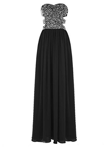 Black Beaded Ball Cut Waist Chiffon Lang Out Sexy Fanciest 2016 Damen Black Kleider XwqPHH