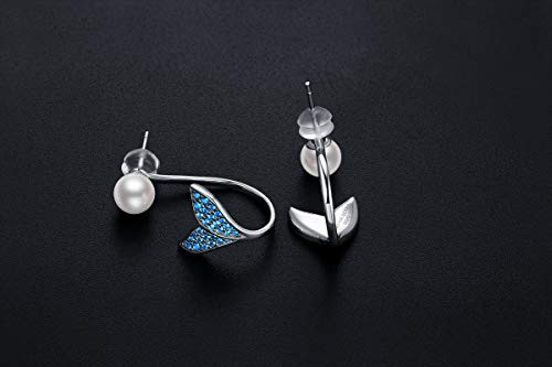 Silver Earrings for Women, Mermaid Tail Earrings 925 Sterling Silver, Hypoallergenic Drop Earrings for Girls, Dangle Earrings Fit Birthday Wedding Anniversary Engagement Valentine's Day FQ0026 by Forever Queen (Image #1)