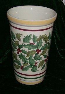 Longaberger American Holly Pottery Vase