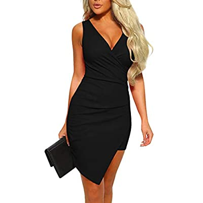 Mizoci Women's Casual Sleeveless Ruched Cocktail Party Dresses Bodycon Mini Sexy Club Dress at Women's Clothing store