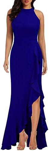 WOOSEA Women's High Neck Split Bodycon Mermaid Evening Cocktail Long Dress 1