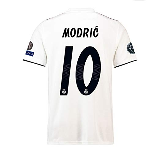 e778468f5 Goldenhetai Real Madrid 2018-2019 Season  10 Modric Home Men s Soccer Jersey    Armbands Size M