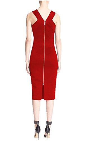 Nach Dem Tiefen V-Ausschnitt Bandage Kleid Reißverschluss Split,Rot,M