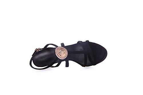 AalarDom Mujeres Hebilla Tacón de aguja Piel De Oveja Sólido Puntera Abierta Sandalia Negro