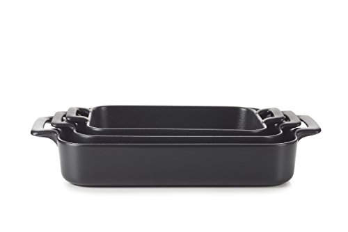 REVOL SET03BC002 Culinary Porcelain Rectangular Roasting Dishes Black, Cast Iron Style by Revol
