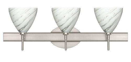 Besa Lighting 3SW-1779MG-SN 3X40W G9 Mia Wall Sconce with Marble Grigio Glass, Satin Nickel (Besa Lighting Wall Vanity)