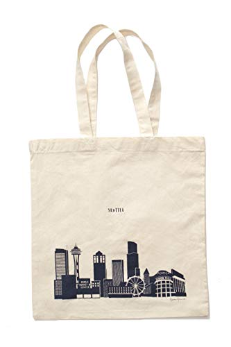 Seattle Gifts, Seattle Skyline Tote Bag that Features over a Dozen Emerald City Landmarks & Seattle Art - Navy 100% Cotton Canvas Seattle Tote Bag w/Big handles and 15